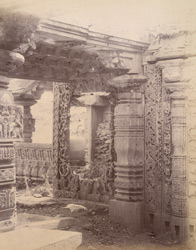 Close view of window and portion of interior, showing sculptural detail, Rangaswami Temple, Bankapur